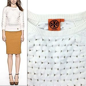 Tory Burch Carlton Open Stitch Cotton Sweater